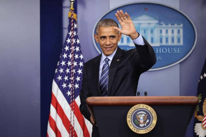 President Obama waves goodbye at the conclusion of a news conference at the White House on Friday.