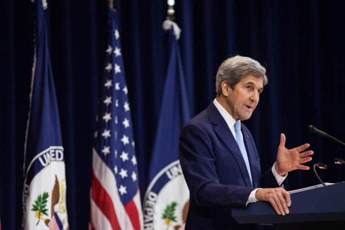 Secretary of State John Kerry delivering a speech at the State Department on December 28th.