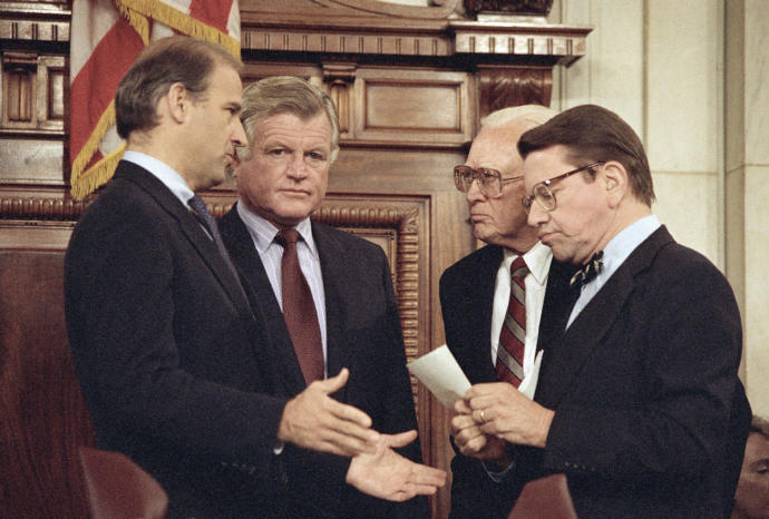 Senator Edward Kennedy with other members of the Senate Judiciary Committee in 1987, prior to voting against recommending the nomination of Judge Robert Bork for the Supreme Court.