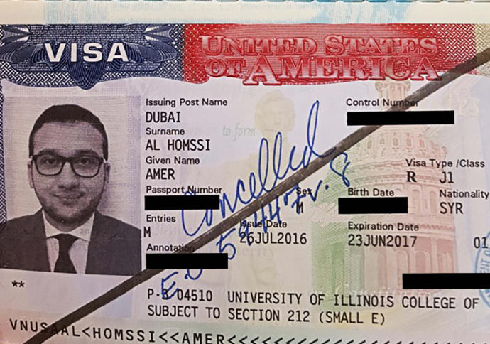 The passport of Dr. Amer Al Hamssi, after U.S. officials prevented him from boarding a plane from Abu Dhabi to Chicago.