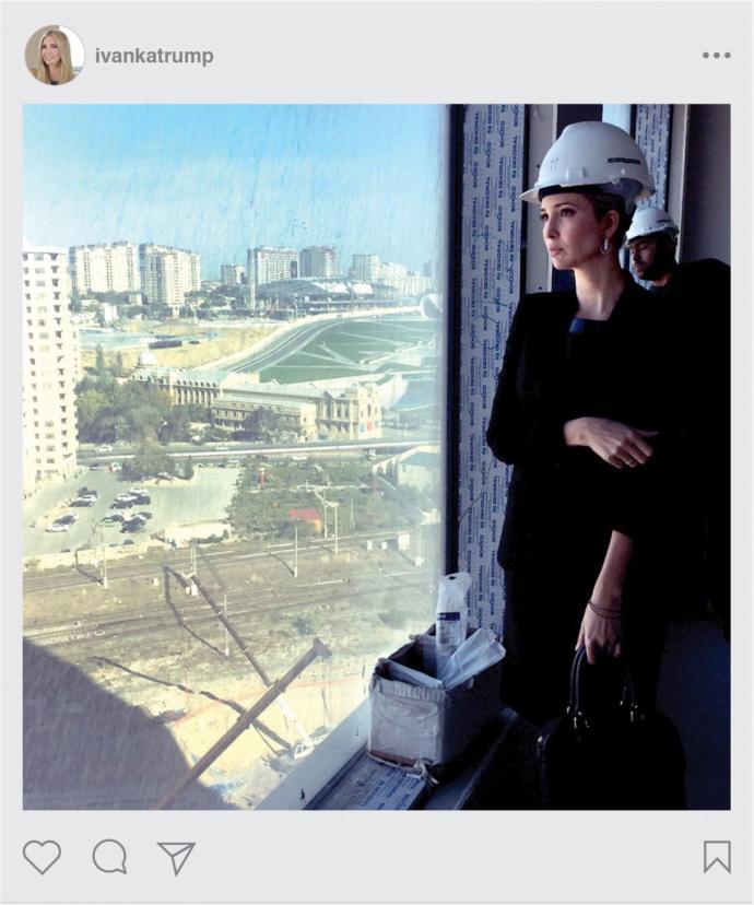 A 2014 Instagram post of Ivanka Trump at the Baku tower.