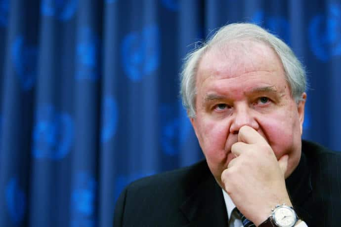 Sergey Kislyak, the Russian Ambassador to the United States, during a 2008 press conference on nuclear non-proliferation.