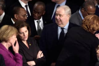 Sergey Kislyak, the Russian Ambassador to the United States, attends Donald Trump's address to Congress on Tuesday.