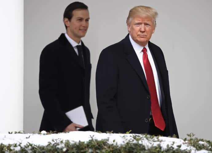 President Donald Trump with his son-in-law, Jared Kushner, at the White House.