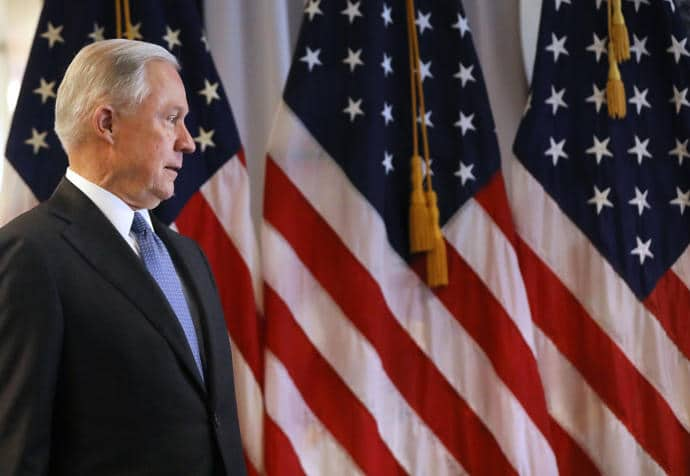 """Attorney General Jeff Sessions in Central Islip to confer with law-enforcement officials about the MS-13 gang, which he has called """"one of the gravest threats to American public safety."""""""