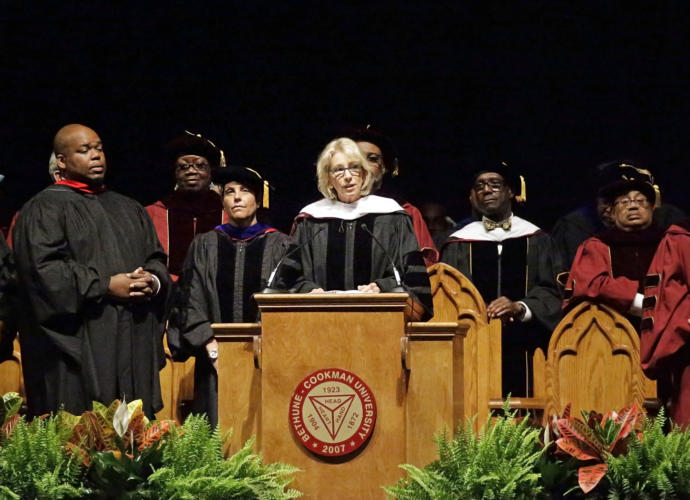 The Education Secretary, Betsy DeVos, was met with jeers from the crowd as she delivered the commencement address at Bethune-Cookman University's graduation ceremony this week, in Daytona Beach, Florida.