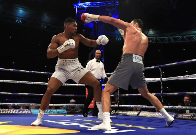 Anthony Joshua, left, had youth and a ferocious crowd on his side during last Saturday's boxing match, against Wladimir Klitschko, right.