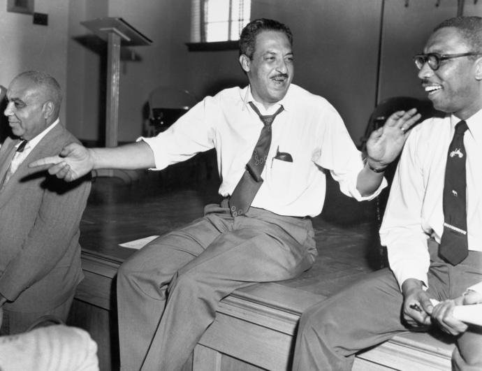 Thurgood Marshall, pictured here at a meeting of the N.A.A.C.P. in the mid-nineteen-fifties, was one of many black lawyers fighting for civil-rights advances.