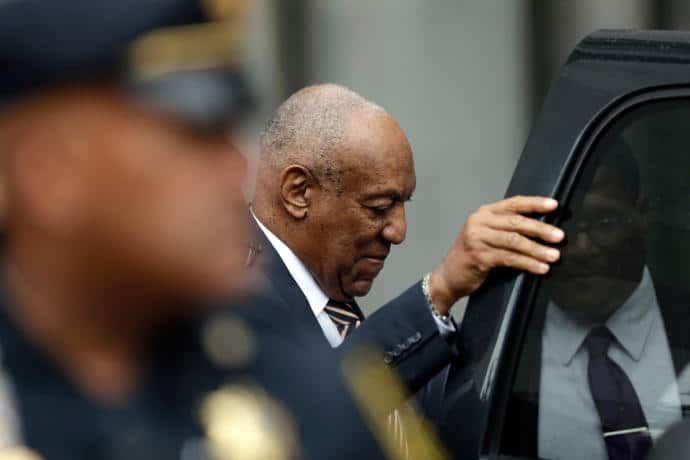 Bill Cosby departs the courthouse after the first day of proceedings in his sexual-assault trial.