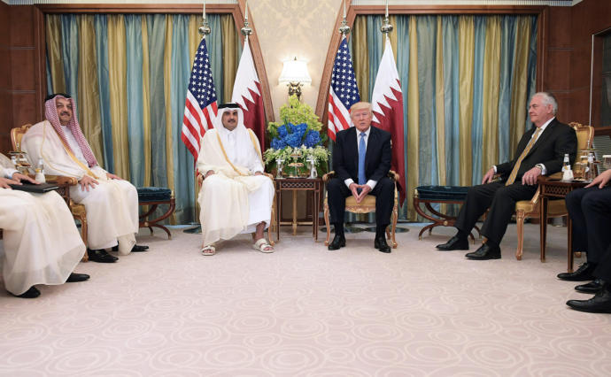 Shortly after an amiable meeting with the Emir of Qatar, President Trump threw him under the diplomatic bus in a series of startling tweets.
